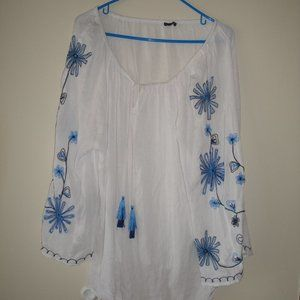 Hannah White Embroidered Hippie Top